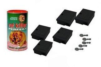 Karmnik deratyzacyjny MOUSE BOX 5szt z kluczykami + trutka na myszy i szczury Rat Killer 250g