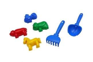 Mini zestaw zabawek do piasku - mix kolorów, 6 elementów