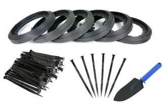 Obrzeże trawnikowe ogrodowe czarne 40mm x 60m Elasteo + 180 kotew