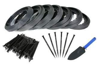 Obrzeże trawnikowe ogrodowe czarne 40mm x 70m Elasteo + 210 kotew