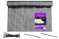 Agrotkanina czarna 1,6x100m (90g) + szpilki mocujące 19 cm (50 szt)