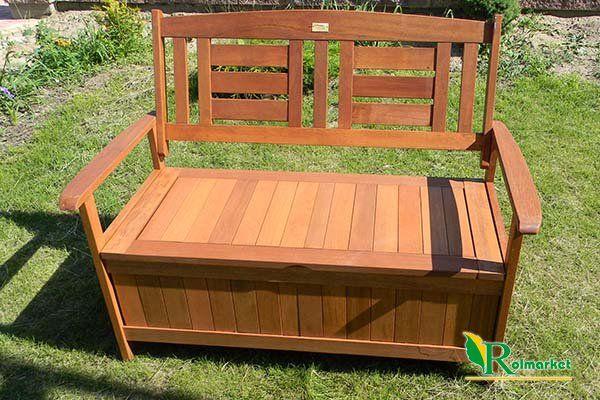 Hustawka Ogrodowa Z Drewna Egzotycznego : Ławka ogrodowa drewniana (z drewna egzotycznego) ze skrzynią Villa