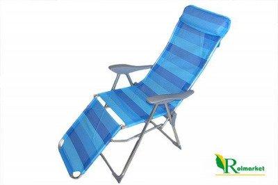 Leżak plażowy rozkładany (5 funkcji) z podnóżkiem MADERA JLC407