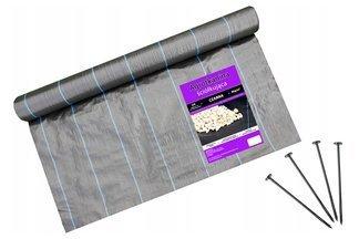 Agrotkanina czarna Agritella 0,4x100m 90g + szpilki mocujące 19cm 50szt
