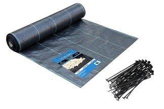 Agrotkanina czarna Agritella 4x25m 70g + szpilki mocujące 19cm 50szt