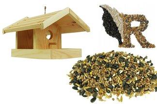 Drewniany karmnik dla ptaków Ptasia Biesiada™ + pokarm zimowy 1 kg Standard