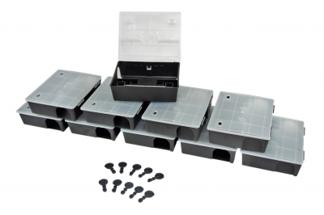 Duży karmnik deratyzacyjny na szczury i  myszy z przezroczystym wieczkiem BOX 20szt + 20szt kluczyków