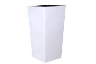 Kwadratowa doniczka DURS 400 z wkładem wewnętrznym - kolor biały, wysokość 75 cm
