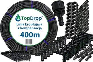 Linia kroplująca ( wąż kroplujący) 400 mb 2l/h 33cm z kompensacją ciśnienia + 100 akcesoriów