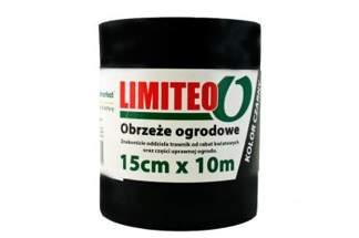 Obrzeże trawnikowe ogrodowe czarne, proste 15cm x 10m LIMITEO - 10 sztuk