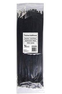 Opaski zaciskowe, taśmy kablowe czarne 3,6x370mm (100 szt.)