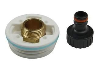 Plastikowa nakrętka (korek, zakrętka) z adapterem GZ 3/4'' do beczek BGZ3/4 + przyłącze do węża ogrodowego GRATIS