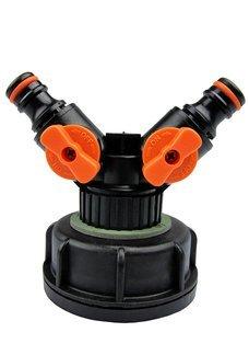 Plastikowa nakrętka z rozdzielaczem, dwójnikiem do zbiorników IBC, fi 61 mm