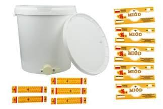 Plastikowy odstojnik z pokrywą do miodu 33 litry + zawór spustowy + 10 Gratisów !