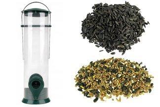 Ptasia Biesiada™ Transparentny karmnik dla ptaków + pokarm zimowy 5 kg Standard  + słonecznik czarny 5 kg