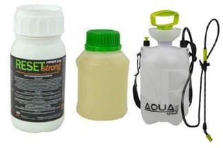 Reset Strong 250 ml – profesjonalny preparat na muchy, komary, pluskwy + utrwalacz do oprysku  250 ml + Opryskiwacz ciśnieniowy Sprayer 4l