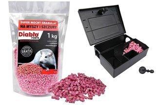 Skuteczna trutka na myszy i szczury Diablo Forte granulat 1kg + karmnik deratyzacyjny z kluczykiem