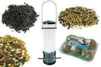 Zestaw : karma dla ptaków 14 kg + kule tłuszczowe 6 szt + karmnik transparentny Tuba