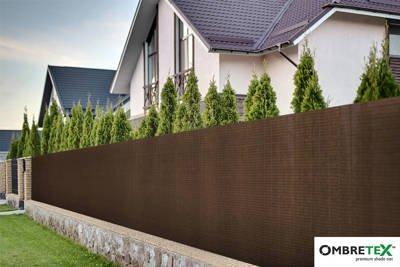 Siatka cieniująca, osłonowa na ogrodzenia 1,7x50m 95% brązowa Ombretex